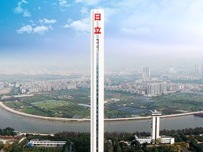 广州日立电梯试验塔楼体发光字工程案例