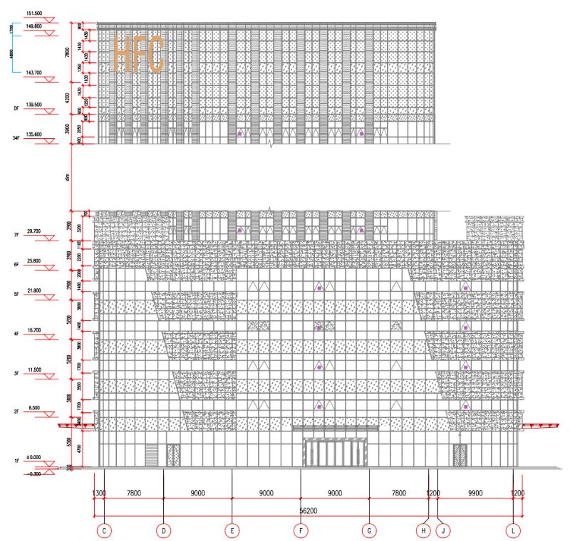 HFC发光字立面位置图